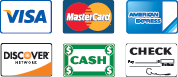 We Accept Visa, MasterCard, American Express, Discover, Cash, and Checks